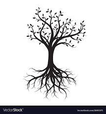 black tree with roots royalty free vector image
