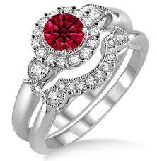 what are bridal set rings 1 25 carat ruby diamond antique three flower halo bridal