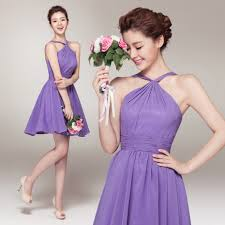 slim purple lavender hanging neck short bridesmaid dress korean