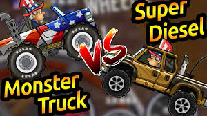 monster truck video game play hill climb racing 2 monster truck vs super diesel gameplay youtube