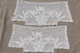 Crochet Valance Curtains Vintage Crochet Lace Curtain Valance Panels W Daffodils Cottage