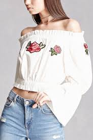 elastic waist blouse fancy floral embroidered the shoulder bell sleeves elastic