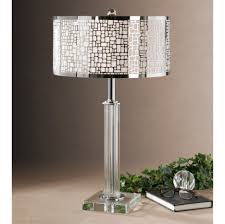 Livingroom Lamps by Accessories Endearing Chrome And Glass Shade In Crystal Stand