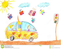 kid car drawing children drawing car trip stock illustration image 51632458