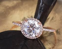 4ct round engagement ring 14k gold cubic zirconia engagement