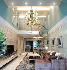 interior classy living room with crown moldings on the ceiling
