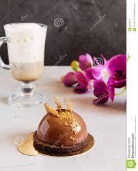 chocolate mousse cake with mirror glaze coating stock photo
