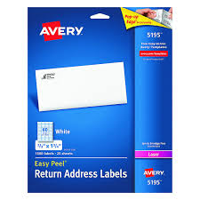 Avery Label Template 5195 by Avery Easy Peel Return Address Labels For Laser