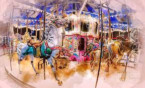 christmas carousel christmas carousel watercolor digital by david smith