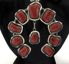 earrings necklace bracelet images William t johnson navajo coral and silver squash blossom jpg