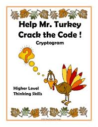 thanksgiving code cryptogram help mr turkey by trail 4 success