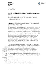 bmw germany email address vikram pawah bmw india press release