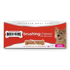 brushing chews dental dog treats mini milk bone