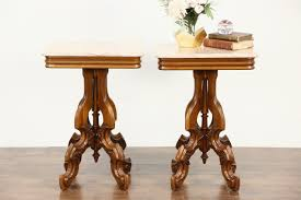 victorian marble top end table sold pair victorian style vintage marble top carved walnut end