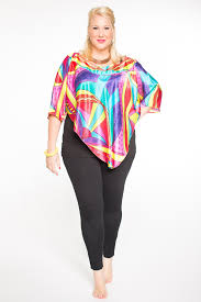 v shaped aztex top with yoke neckline v shaped hemline juicy lucy plus