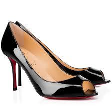 christian louboutin yootish 85mm en cuir verni peep toe escarpins