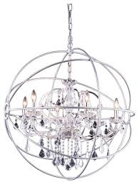 Crystal Sphere Chandelier Foucaults Orb Crystal Chandelier 6 Lights Medium Size