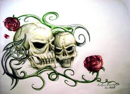 skull and roses on canvas by serenitynme on deviantart
