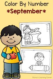 color by number worksheets september mamas learning corner