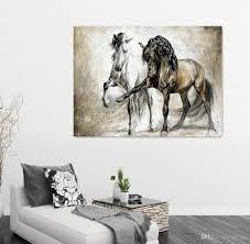 2017 two horse design retro brown horse dance original living room
