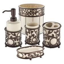 Porcelain Bathroom Accessories Sets Interdesign Vine Vanilla And Bronze Bath Accessories