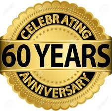 celebrating 60 years celebrating 60 years anniversary golden label with ribbon vector