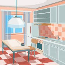 a kitchen vector cartoon illustration of a kitchen interior vector free