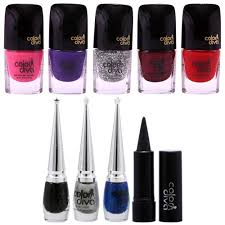 buy color diva multicolored nail polish combo with eyeliner