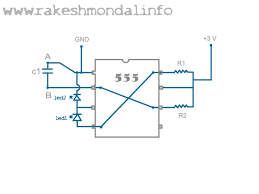flashing 555 blinking led circuit with 555 timer