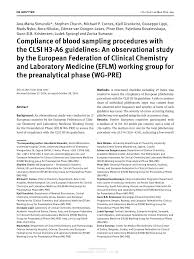 compliance of blood sampling procedures with the clsi h3 a6