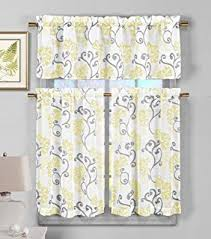 Bathroom Tier Curtains Amazon Com 3 Piece Semi Sheer Window Curtain Set Botanical