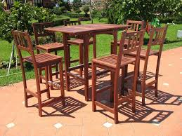 Bar Height Patio Dining Set by Pebble Lane Living 7 Piece Outdoor Premium Wood Patio Bar Dining