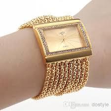 womens diamond bracelet watches images Women 39 s gold band golden dial diamond bracelet style wrist watch jpg
