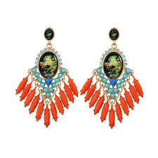 clip on chandelier earrings wholesale e11311 orange gem chandelier earrings yiwuproducts