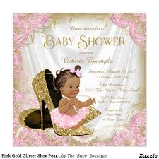 Baby Shower Card Invitations Pink Gold Glitter Shoe Pearl Ethnic Baby Shower Invitation