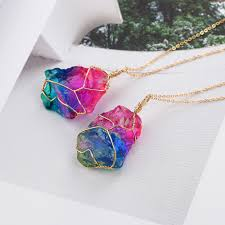 natural quartz crystal necklace images Natural crystal rainbow quartz crystal necklace omg stylish jpg