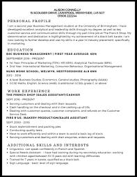 good resume exles for internships cv exle studentjob uk