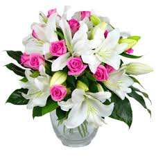 bouquet of lilies and fresh flower bouquet lovely pink roses and white
