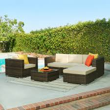 Dark Brown Wicker Patio Furniture by The Hom Caribe 4 Piece All Weather Wicker Patio Seating Set