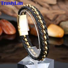 black leather bracelet with gold images Trustylan stainless steel gold color mens bracelets bangles cool jpg
