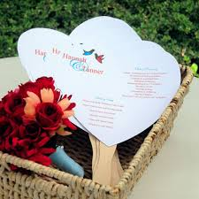 Diy Wedding Program Fan Heart Shaped Wedding Program Fan Kit Pack Of 50