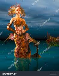 close mermaid dressed armor seashells rising stock illustration