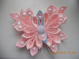 418 best kanzashi images on fabric flowers ribbon