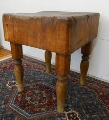 antique rustic early 20th century butcher block table turned legs