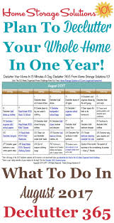 How To Declutter Your Home by August Declutter Calendar 15 Minute Daily Missions For Month