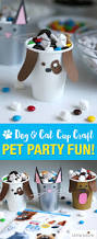 pet party ideas dog u0026 cat paper cup craft puppy chow bar
