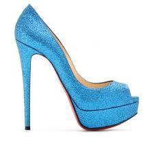 golden chain louboutin sparkly blue heels