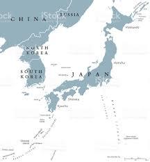 World Map Korea Korean Peninsula And Japan Countries Political Map Stock Vector