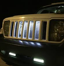 jeep liberty silver 2008 12 jeep liberty kk mesh grill insert kit by customcargrills