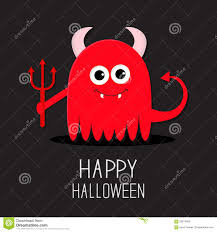 evil halloween background cute red evil monster with horns fangs and trident happy